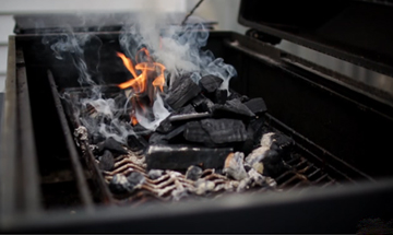 lump charcoal in a grill